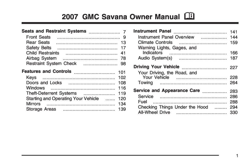 2007 Savana Owners Manual Pdf  2 68 Mb
